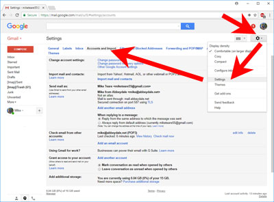 Screen-shot: GMail settings