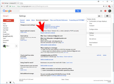 Screen-shot: Import email account into GMail
