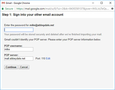 Screen-shot: email account details