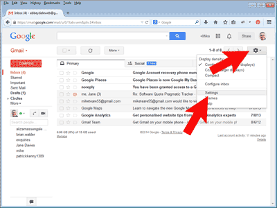 Open GMail's settings page