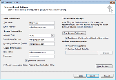 Set up Outlook 2010: your email settings