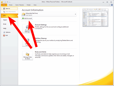Set up Outlook 2010: add account