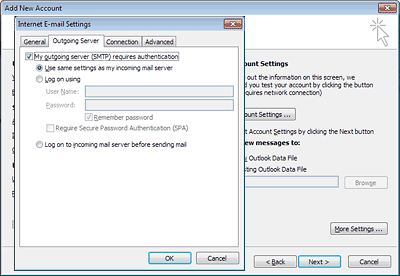 Set up Outlook 2010: outgoing server
