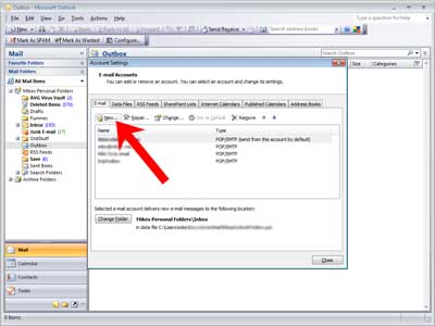 Set up Outlook 2007: accounts dialog