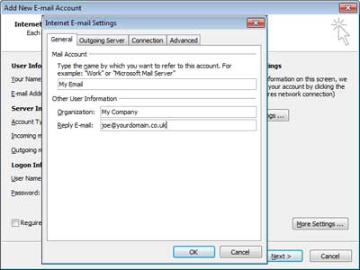 Set up Outlook 2007: more settings