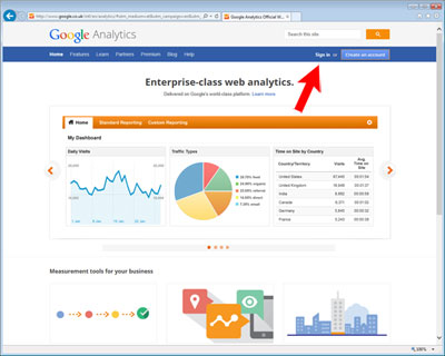 Log in to Google Analytics
