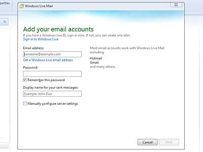 Set up Windows Live Mail: new account dialog