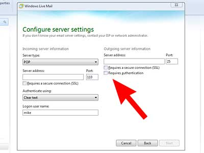 Set up Windows Live Mail: outgoing mail server